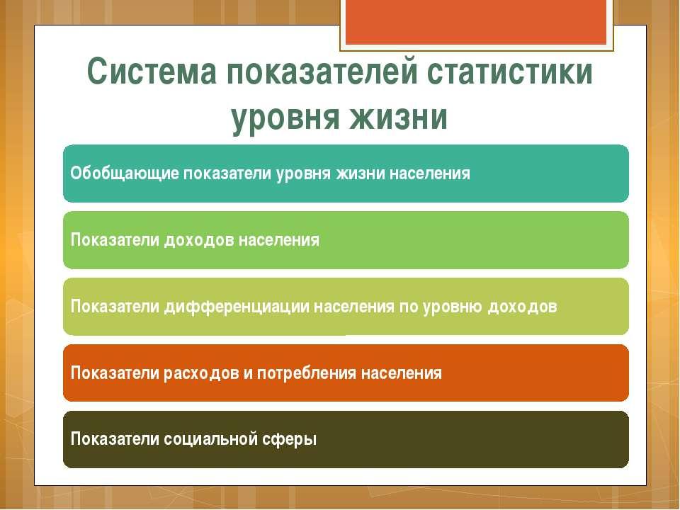 Система показателей статистики уровня жизни