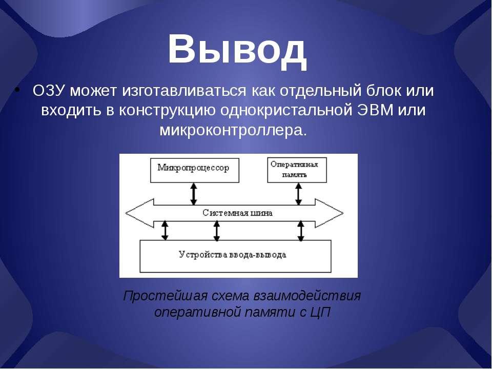 Вывод ОЗУ может изготавливаться как отдельный блок или входить в конструкцию ...