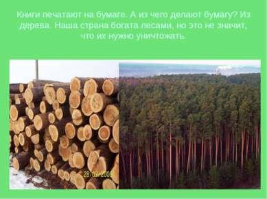 Книги печатают на бумаге. А из чего делают бумагу? Из дерева. Наша страна бог...