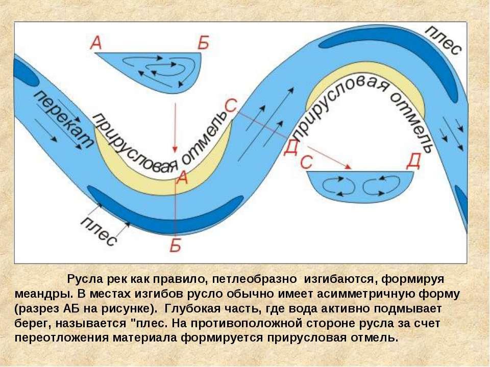 Русла рек как правило, петлеобразно изгибаются, формируя меандры. В местах ...