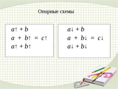 a↑ + b a + b↑ = c↑ a↑ + b↑ a↓ + b a + b↓ = c↓ a↓ + b↓ Опорные схемы