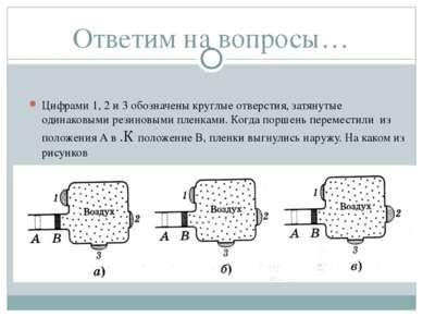Ответим на вопросы… Цифрами 1, 2 и 3 обозначены круглые отверстия, затянутые ...