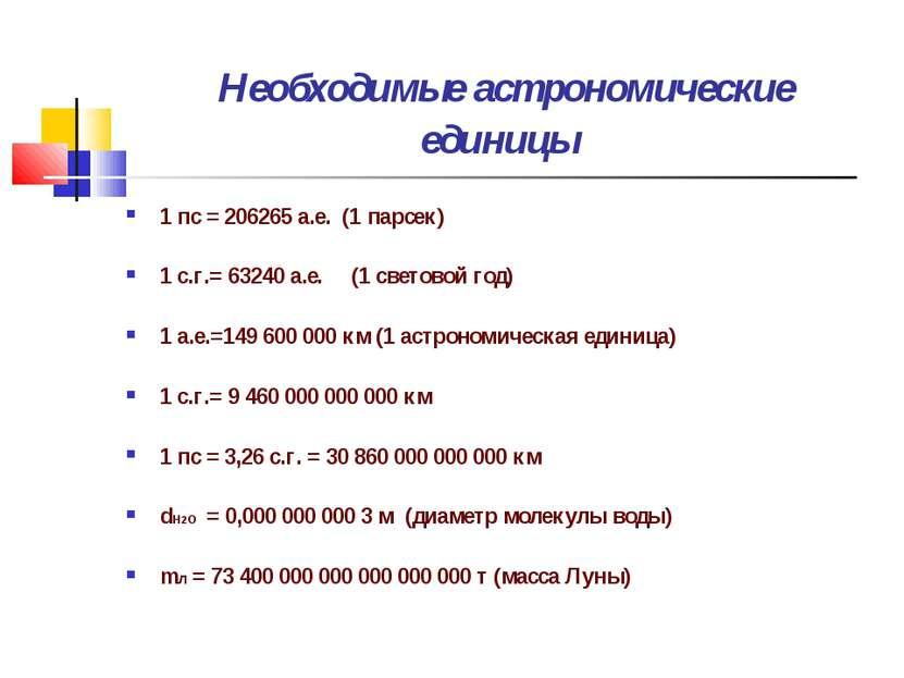 Необходимые астрономические единицы 1 пс = 206265 а.е. (1 парсек) 1 с.г.= 632...
