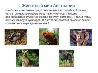 Наиболее известными представителями австралийской фауны являются однопроходны...