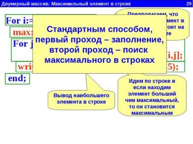 Двумерный массив. Максимальный элемент в строке 29 ClrScr; Write('Введи N = '...