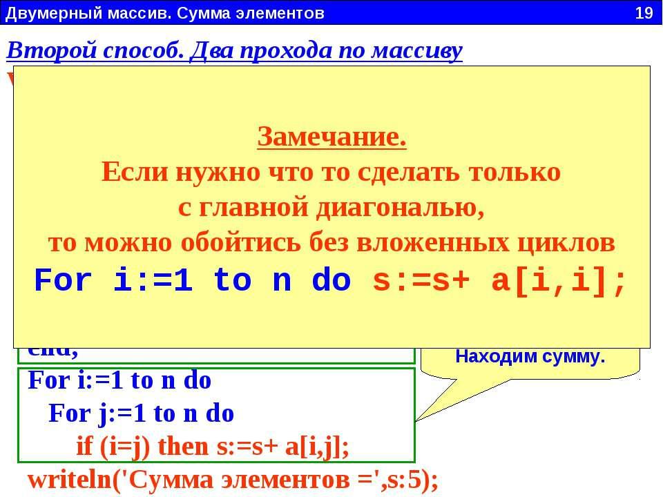Двумерный массив. Сумма элементов 19 Заполнить двумерный массив N x N случайн...