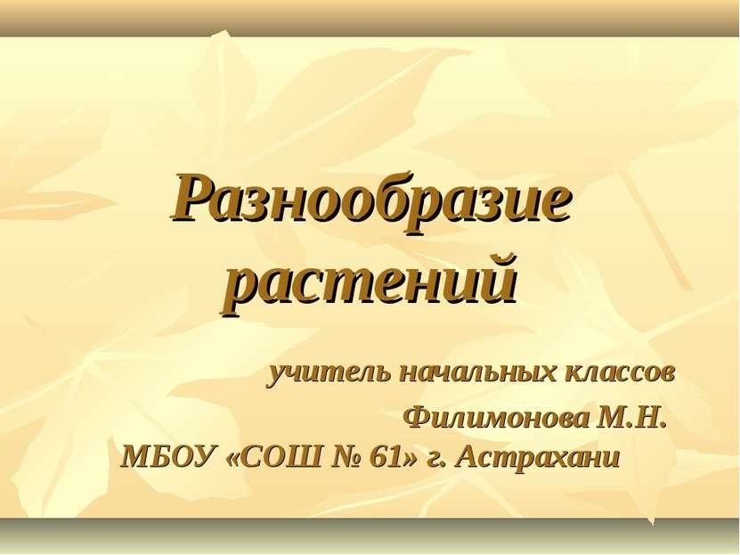 Разнообразие растений учитель начальных классов Филимонова М.Н. МБОУ «СОШ № 6...