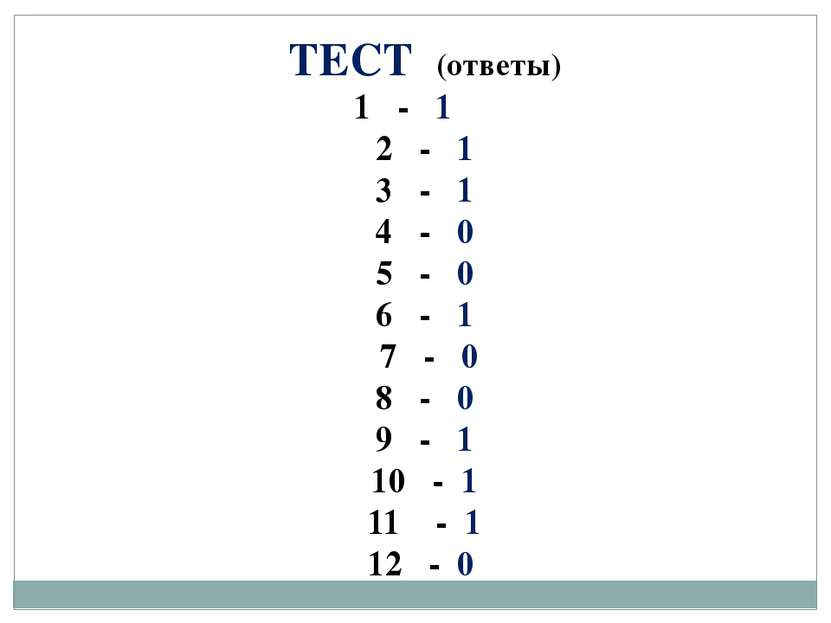 ТЕСТ (ответы) 1 - 1 2 - 1 3 - 1 4 - 0 5 - 0 6 - 1 7 - 0 8 - 0 9 - 1 10 - 1 11...