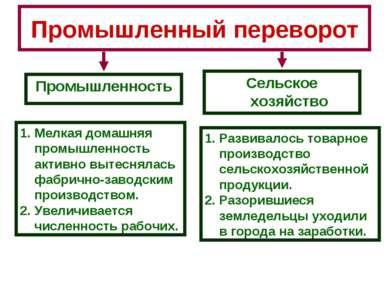 Промышленный переворот Промышленность Сельское хозяйство Мелкая домашняя пром...