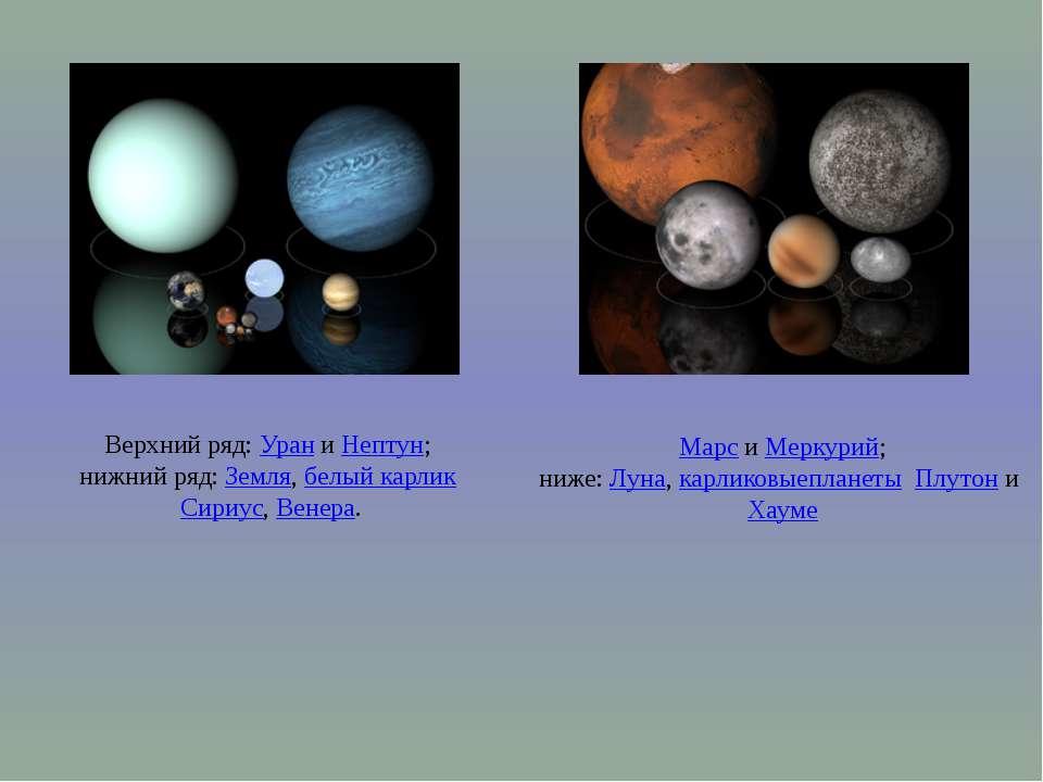 Верхний ряд:УраниНептун; нижний ряд:Земля,белый карликСириус,Венера. ...