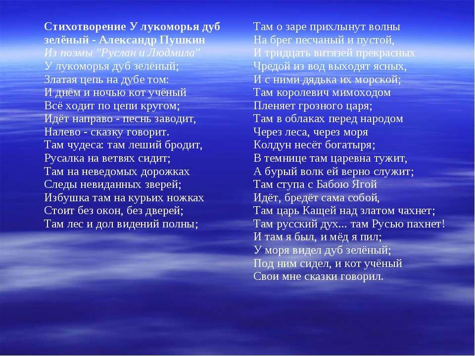 """Стихотворение У лукоморья дуб зелёный - Александр Пушкин Из поэмы """"Руслан и Л..."""