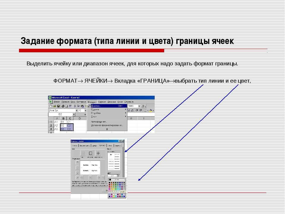 Задание формата (типа линии и цвета) границы ячеек Выделить ячейку или диапаз...