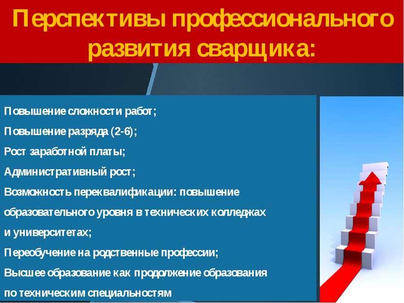 Перспективы профессионального развития сварщика: Повышение сложности работ; П...