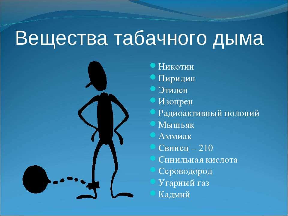 Вещества табачного дыма Никотин Пиридин Этилен Изопрен Радиоактивный полоний ...
