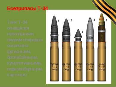 Боеприпасы Т-34 Танк Т-34 оснащался несколькими видами снарядов: осколочно- ф...