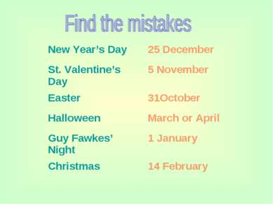 New Year's Day 25 December St. Valentine's Day 5 November Easter 31October Ha...