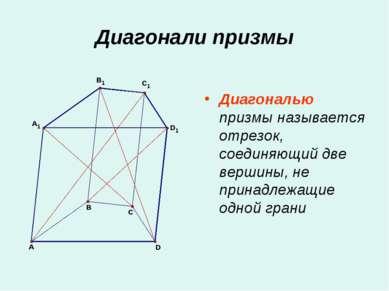 Диагонали призмы Диагональю призмы называется отрезок, соединяющий две вершин...