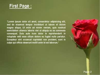 "First Page : ""Lorem ipsum dolor sit amet, consectetur adipisicing elit, sed d..."