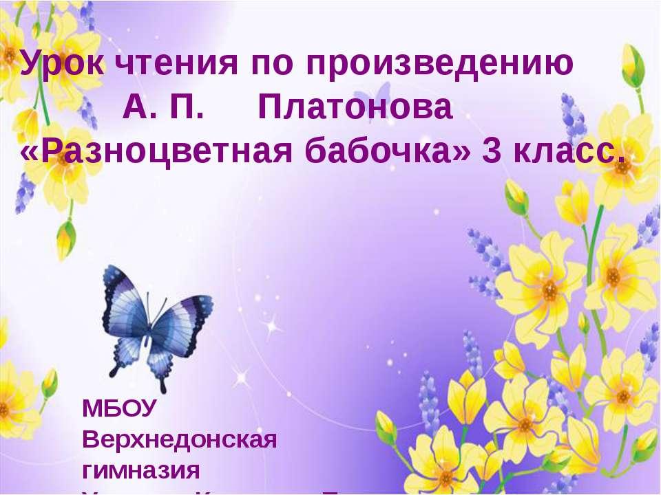 Урок чтения по произведению А. П. Платонова «Разноцветная бабочка» 3 класс. М...