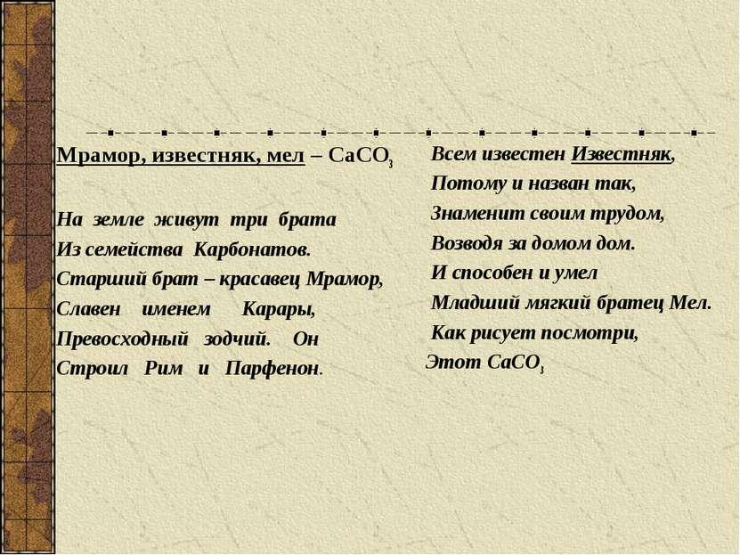 Соли угольной кислоты: Всем известен Известняк, Потому и назван так, Знаменит...