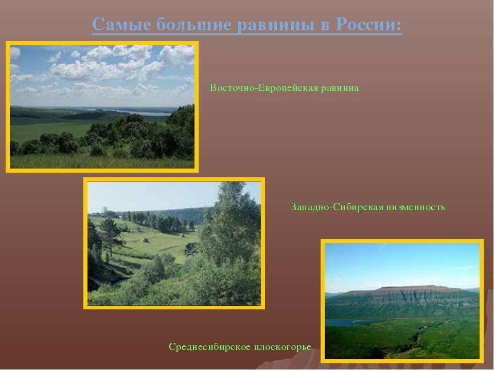 Самые большие равнины в России: Восточно-Европейская равнина Западно-Сибирска...