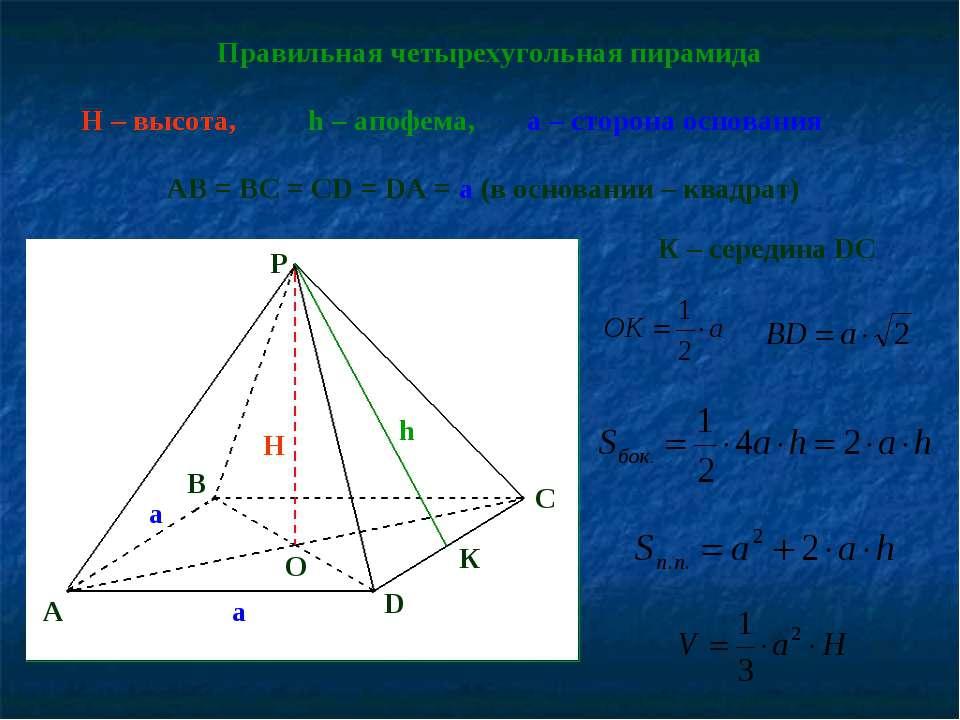 Правильная четырехугольная пирамида h – апофема, H – высота, AB = BC = CD = D...
