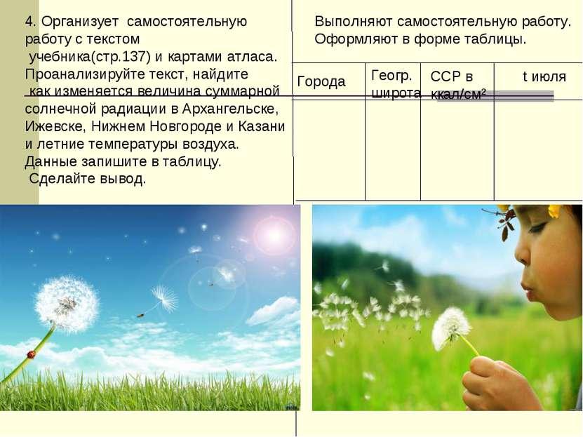 4. Организует самостоятельную работу с текстом учебника(стр.137) и картами ат...