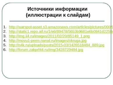Источники информации (иллюстрации к слайдам) 17.http://mo.astrobl.ru/poselokk...