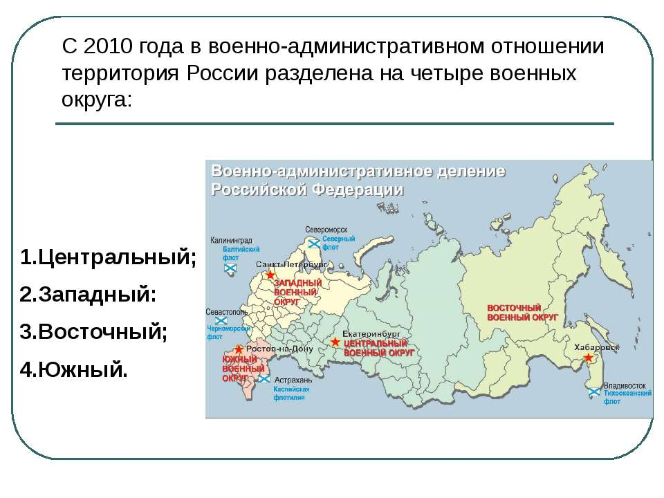 В состав каждого военного округа входят находящиеся на его территории органы ...