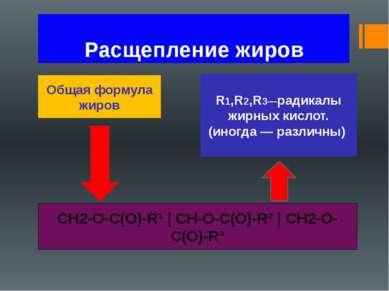 Расщепление жиров Общая формула жиров CH2-O-C(O)-R¹ | CH-О-C(O)-R² | CH2-O-C(...
