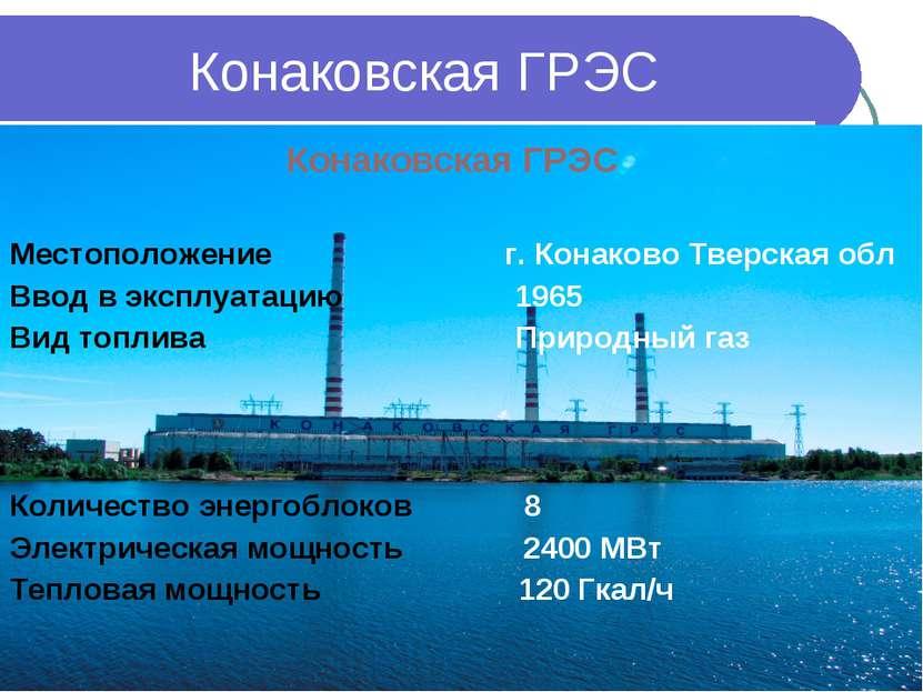 Конаковская ГРЭС Местоположение г. Конаково Тверская обл Ввод в эксплуатацию ...