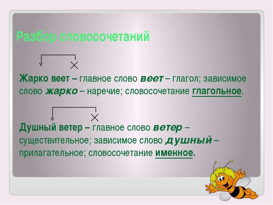 Разбор словосочетаний Жарко веет – главное слово веет – глагол; зависимое сло...