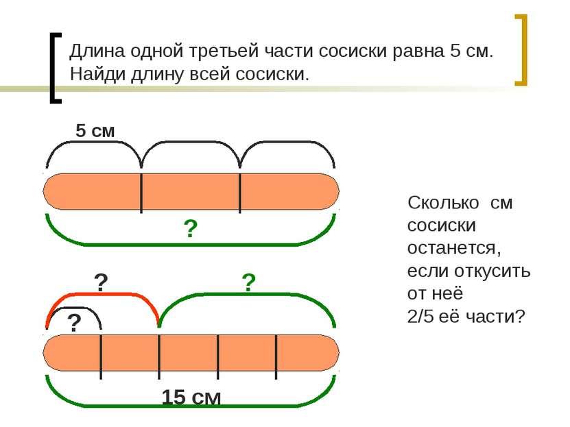 Длина одной третьей части сосиски равна 5 см. Найди длину всей сосиски. Сколь...