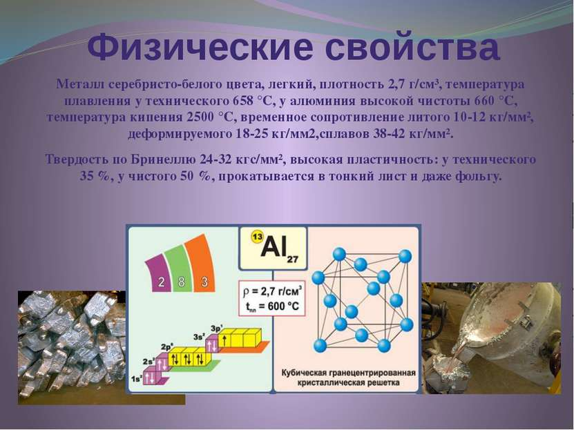 Физические свойства Металл серебристо-белого цвета, легкий, плотность 2,7 г/с...