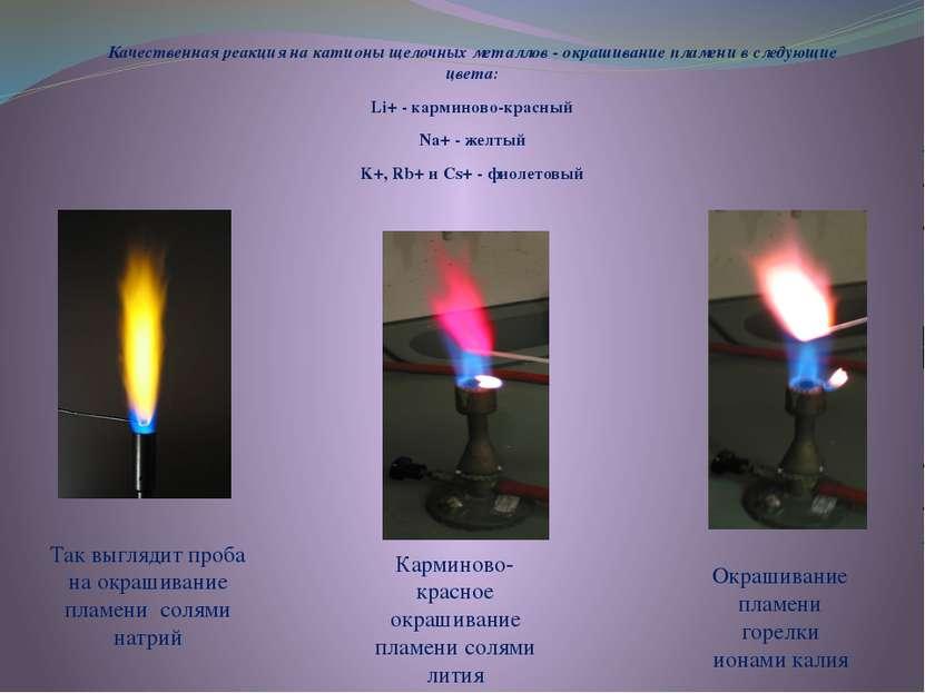 Качественная реакция на катионы щелочных металлов - окрашивание пламени в сле...