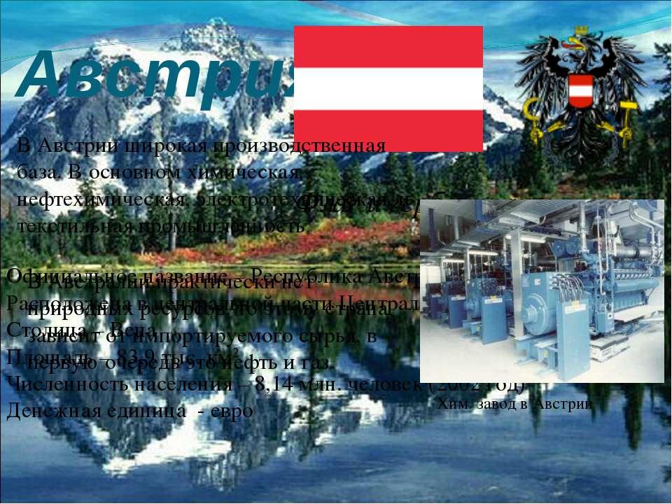 Австрия Флаг и герб страны Официальное название – Республика Австрия Располож...