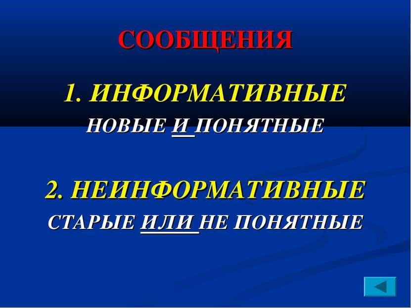СООБЩЕНИЯ 1. ИНФОРМАТИВНЫЕ НОВЫЕ И ПОНЯТНЫЕ 2. НЕИНФОРМАТИВНЫЕ СТАРЫЕ ИЛИ НЕ ...