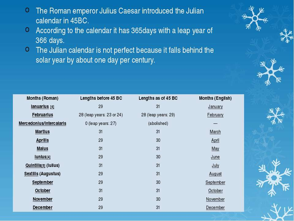 The Roman emperor Julius Caesar introduced the Julian calendar in 45BC. Accor...