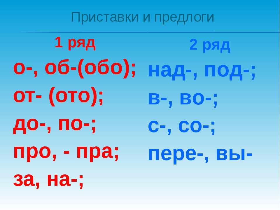 Приставки и предлоги 1 ряд о-, об-(обо); от- (ото); до-, по-; про, - пра; за,...
