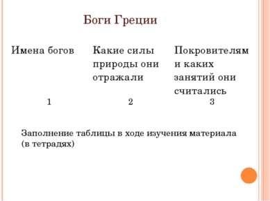 Боги Греции Заполнение таблицы в ходе изучения материала (в тетрадях) Имена б...