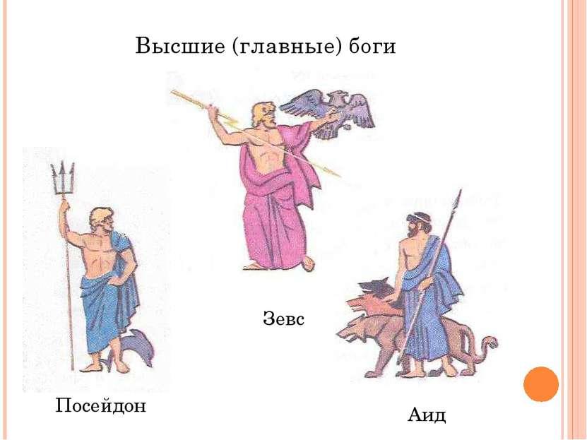 Высшие (главные) боги Зевс Посейдон Аид