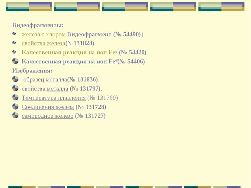 Видеофрагменты: железа с хлором Видеофрагмент (№ 54490)). свойства железа(N 1...
