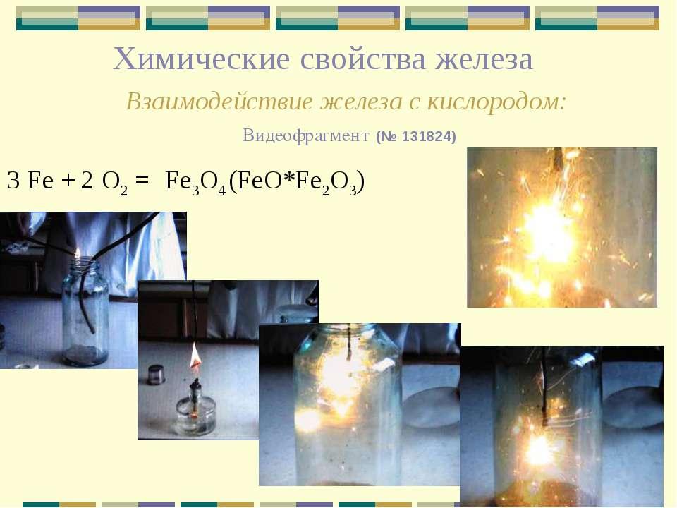 Химические свойства железа Взаимодействие железа с кислородом: Видеофрагмент ...