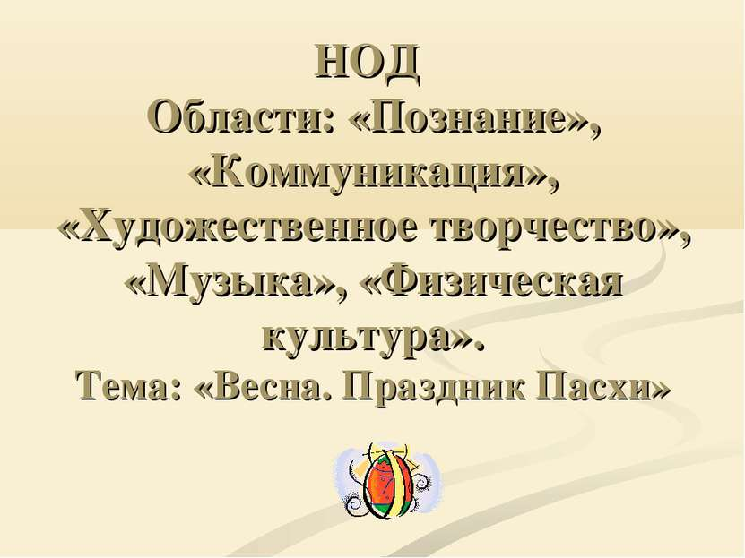 НОД Области: «Познание», «Коммуникация», «Художественное творчество», «Музыка...
