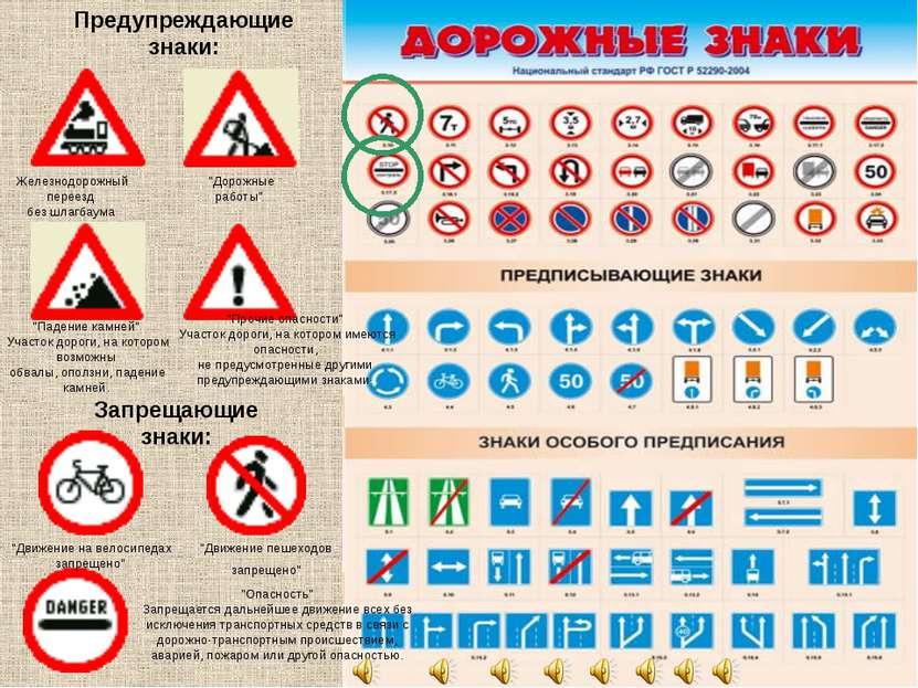 Запрещающие знаки: Предупреждающие знаки: Железнодорожный переезд без шлагбау...