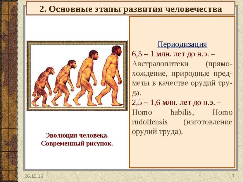 2. Основные этапы развития человечества Периодизация 6,5 – 1 млн. лет до н.э....