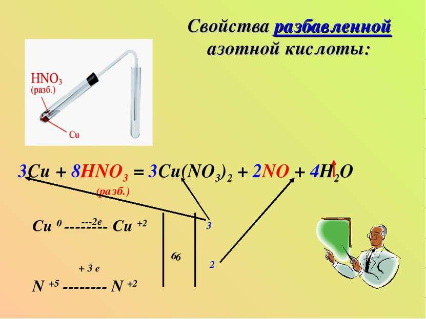Свойства разбавленной азотной кислоты: 3Cu + 8HNO3 = 3Cu(NO3)2 + 2NO + 4H2O (...