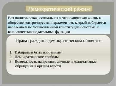 Демократический режим Вся политическая, социальная и экономическая жизнь в об...
