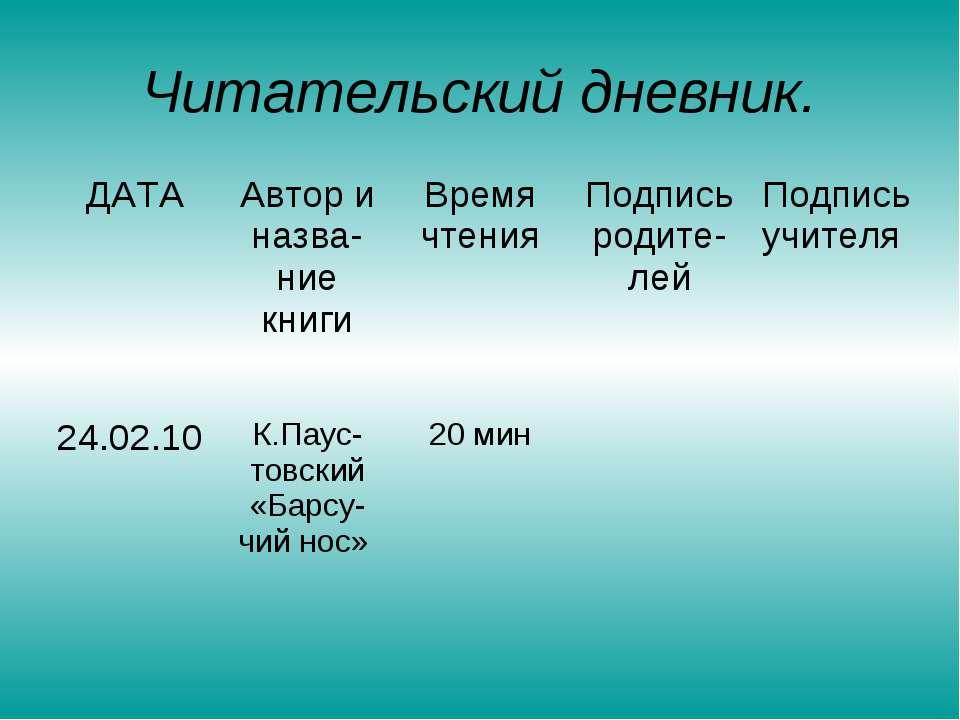 Читательский дневник. ДАТА Автор и назва-ние книги Время чтения Подпись родит...