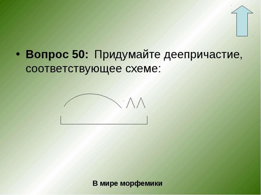Вопрос 50: Придумайте деепричастие, соответствующее схеме: В мире морфемики